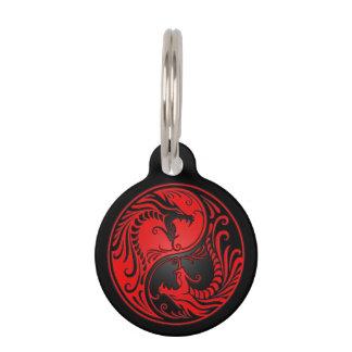 Red and Black Yin Yang Dragons Pet ID Tag