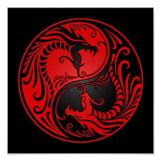 Red and Black Yin Yang Dragons Poster