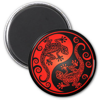 Red and Black Yin Yang Geckos Magnet