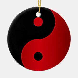 Red and Black Yin-Yang Harmony Holiday Ornament