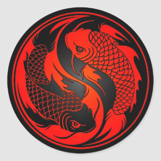 Red and Black Yin Yang Koi Fish Classic Round Sticker