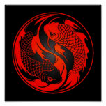 Red and Black Yin Yang Koi Fish Poster