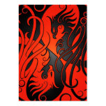 Red and Black Yin Yang Phoenix Business Cards