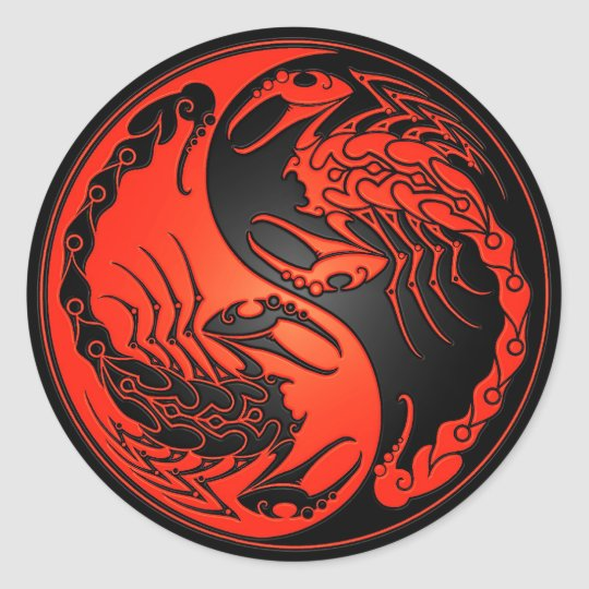 Red and Black Yin Yang Scorpions Classic Round