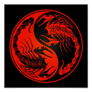 Red and Black Yin Yang Scorpions Poster