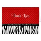 Red and Black Zebra Polka Dot Thank You Card