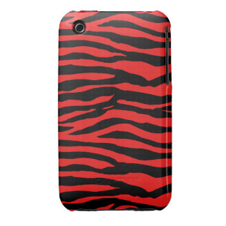 Red and Black Zebra Stripes Case-Mate iPhone 3 Case