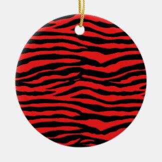 Red and Black Zebra Stripes Round Ceramic Decoration