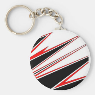 Red and Black zig-zag Design from AOM Basic Round Button Key Ring