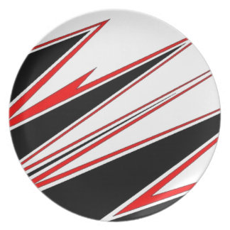 Red and Black zig-zag Design from AOM Party Plate