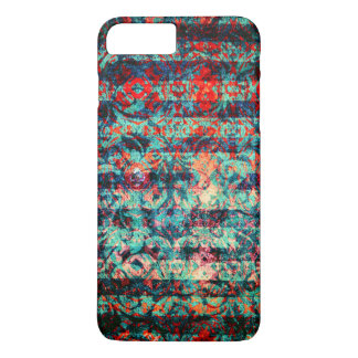 Red and Blue Abstract Floral Grunge Striped iPhone 7 Plus Case