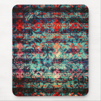 Red and Blue Abstract Floral Grunge Striped Mouse Pad