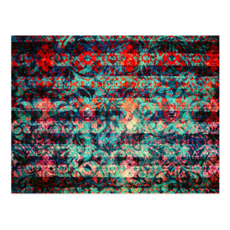 Red and Blue Abstract Floral Grunge Striped Postcard
