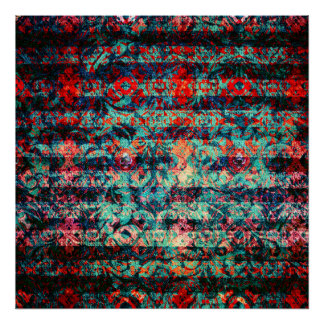 Red and Blue Abstract Floral Grunge Striped Poster