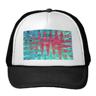 Red and blue abstract mesh hat