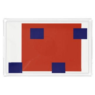Red and Blue Abstract Rectangles Pattern Acrylic Tray