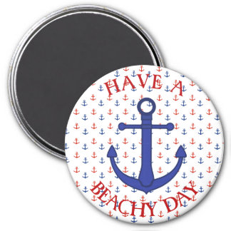 Red and Blue Anchors Nautical Magnets