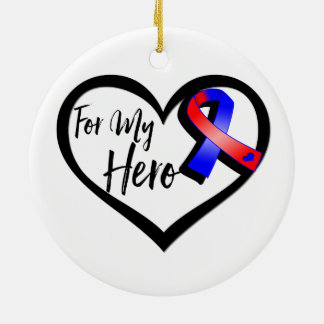 Red and Blue Awareness Ribbon For My Hero Round Ceramic Decoration