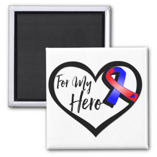 Red and Blue Awareness Ribbon For My Hero Square Magnet