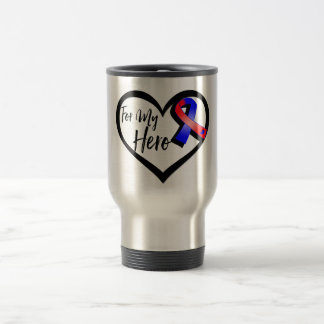 Red and Blue Awareness Ribbon For My Hero Stainless Steel Travel Mug