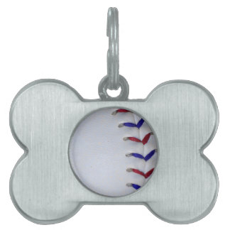 Red and Blue Baseball / Softball Stitches Pet Name Tag