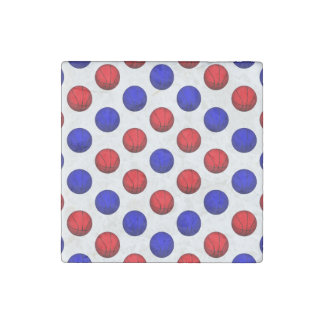 Red and Blue Basketball Pattern Stone Magnet
