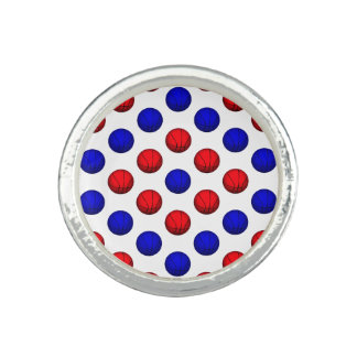 Red and Blue Basketball Pattern Photo Ring
