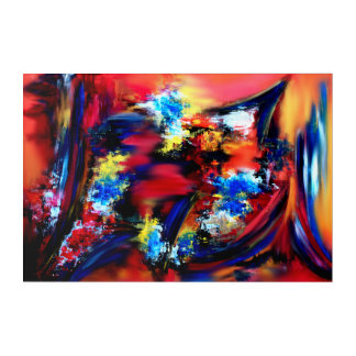 Red and Blue Brush Strokes Acrylic Wall Art