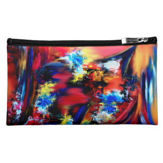 Red and Blue Brush Strokes Makeup Bag