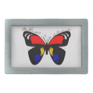 Red and Blue Butterfy Rectangular Belt Buckle