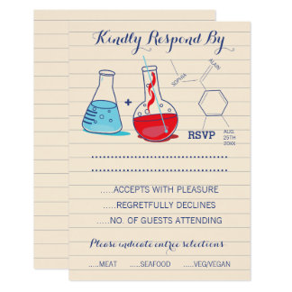 Red and Blue Chemistry Wedding Response Cards