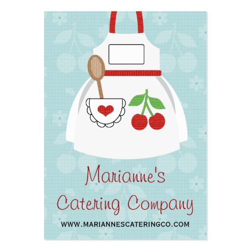 Red and Blue Cherry Heart Apron Business Cards