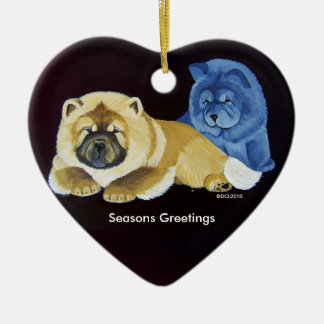 Red and Blue chow puppy Ornament