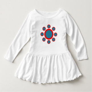 red and blue circle henna pattern dress