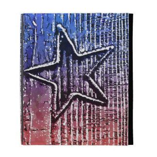Red and Blue Cool Rustic Star Pop Art Print iPad Folio Cases