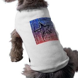Red and Blue Cool Rustic Star Pop Art Print Sleeveless Dog Shirt