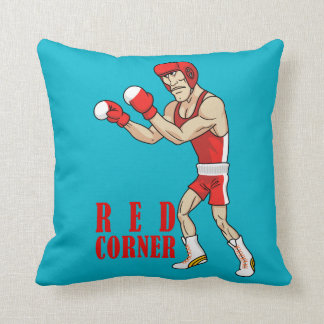red and blue corner boxers cushion