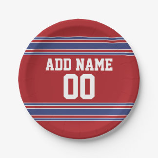 Red and Blue Custom Sports Jersey Paper Plate