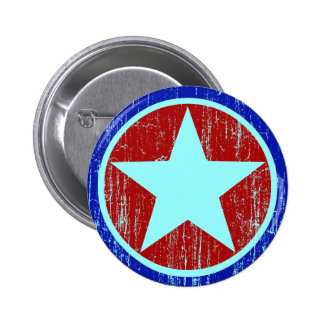 RED AND BLUE DISTRESSED STAR 6 CM ROUND BADGE