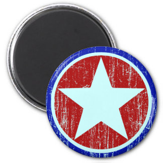 RED AND BLUE DISTRESSED STAR 6 CM ROUND MAGNET