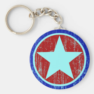 RED AND BLUE DISTRESSED STAR BASIC ROUND BUTTON KEY RING