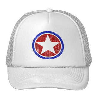 RED AND BLUE DISTRESSED STAR CAP