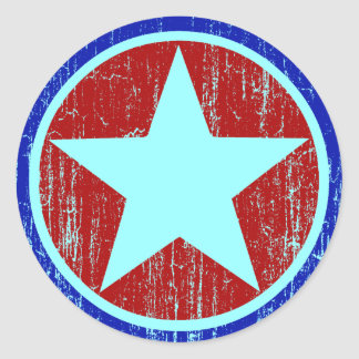 RED AND BLUE DISTRESSED STAR ROUND STICKER