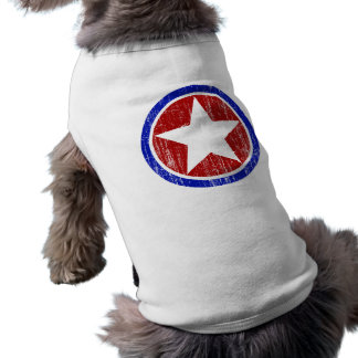RED AND BLUE DISTRESSED STAR SLEEVELESS DOG SHIRT