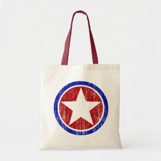 RED AND BLUE DISTRESSED STAR TOTE BAG