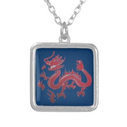 red and blue dragon necklace