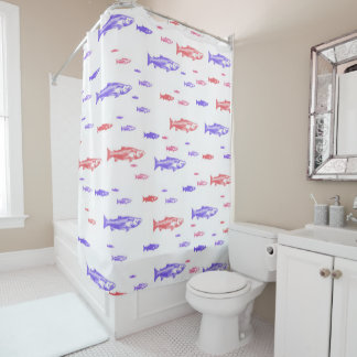 Red and Blue Fish Pattern Shower Curtain