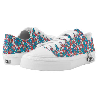 Red and Blue Floral Mandala Low Tops
