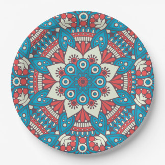 Red and Blue Floral Mandala Paper Plate