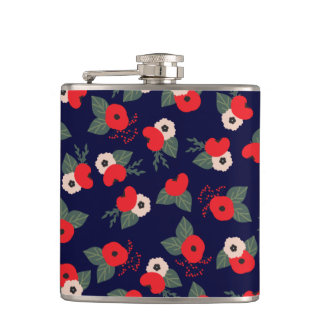 Red and Blue Florals Flask